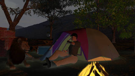 Two friends camping.