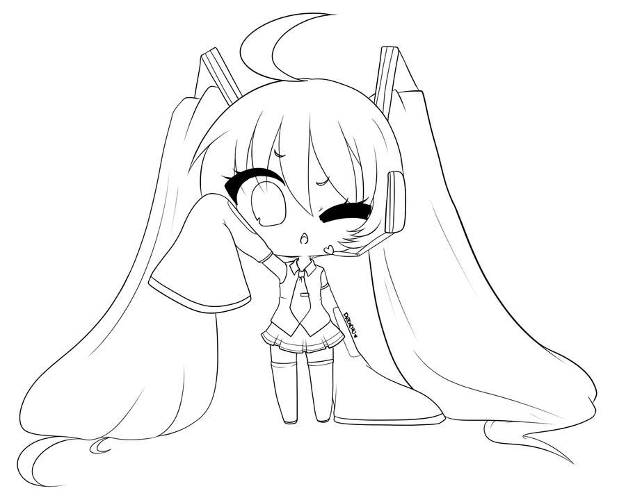 Line Art To Color : Miku line art feel free to color by dreachu on deviantart