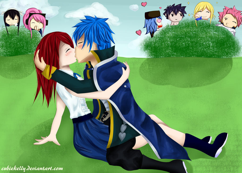 Erza scarlet and natsu kiss