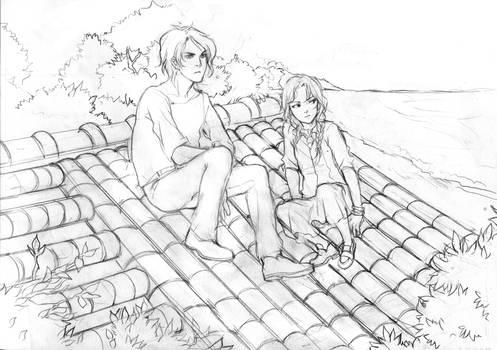 Prelim sketch, Norah and Mamoru.
