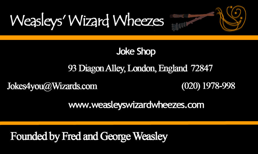 Weasleys Wizard Wheezes Business Card by Ed-Wrath-Luvver on DeviantArt