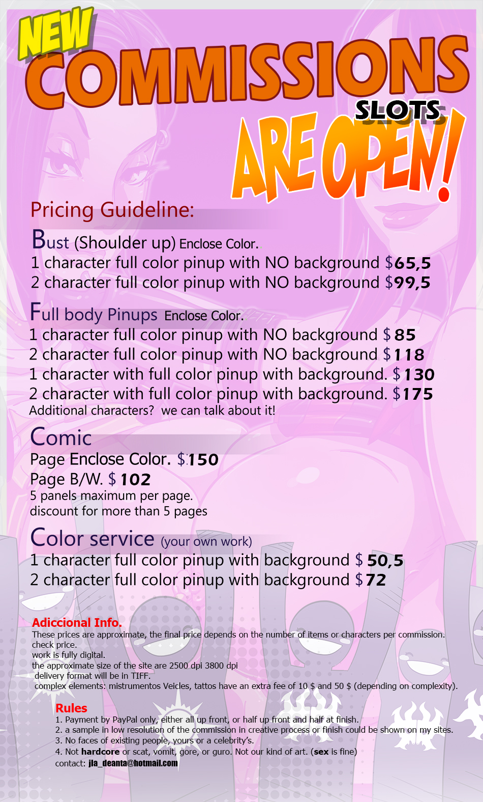 New Commissions price list by Kamina1978