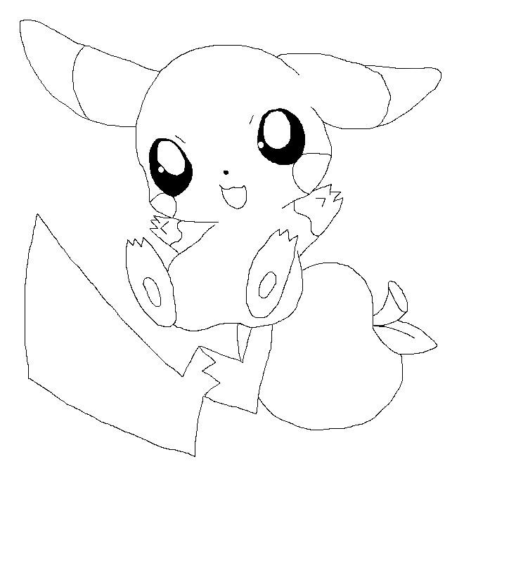 chibi pikachu line art by Senackichan on DeviantArt