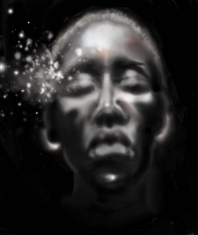photoshop digital painting of african woman by Baddahbing