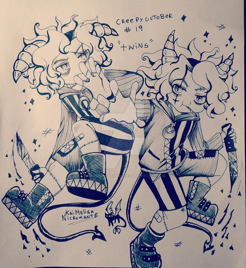 creepycutober Day 19 Twins by KaiMelisaNicromanteX