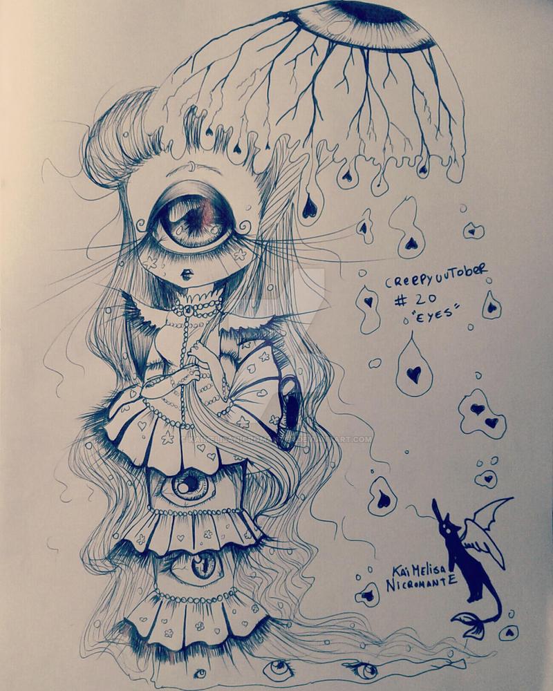 Creepycutober Day 20 Eyes by KaiMelisaNicromanteX