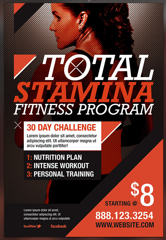 TOTAL STAMINA FITNESS  FLYER  Template PREVIEW By SeraphimChris ...  Free Fitness Flyer Templates