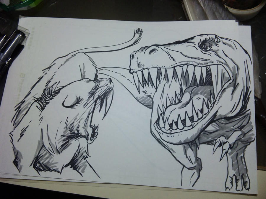 Saber tooth vs t rex by yumezaka on deviantart Land Before Time Coloring Pages Retarded T-Rex DBZ Fighting Coloring Pages