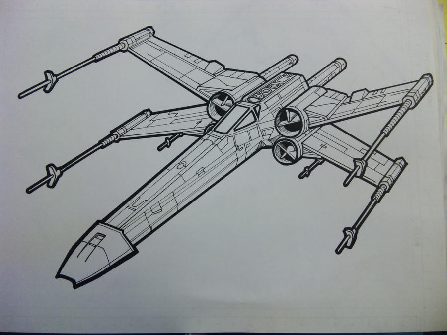X wing lineart by yumezaka on deviantart for Star wars x wing coloring pages