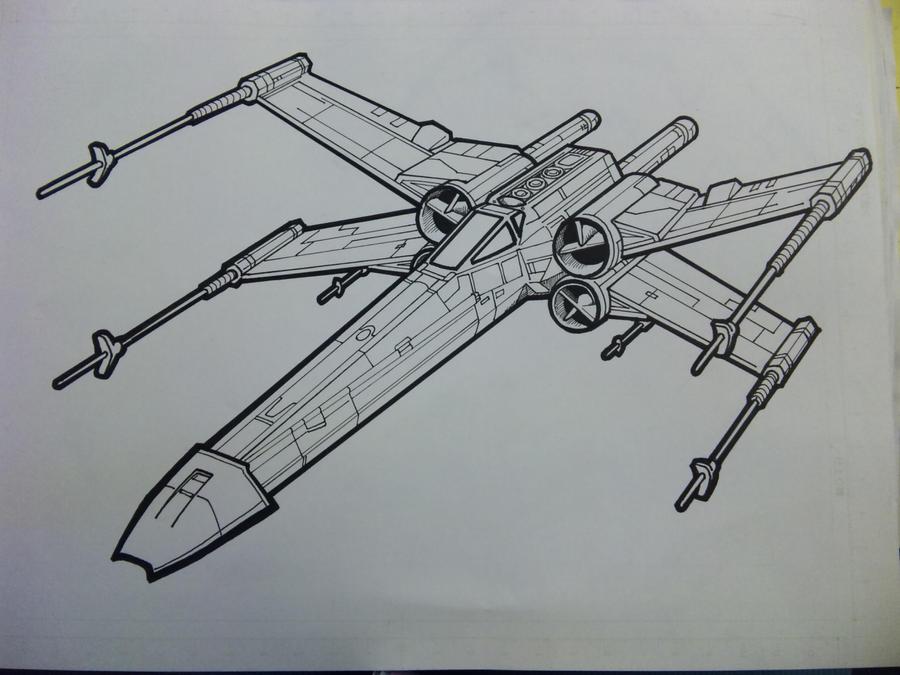 X Wing Line Drawing : X wing lineart by yumezaka on deviantart