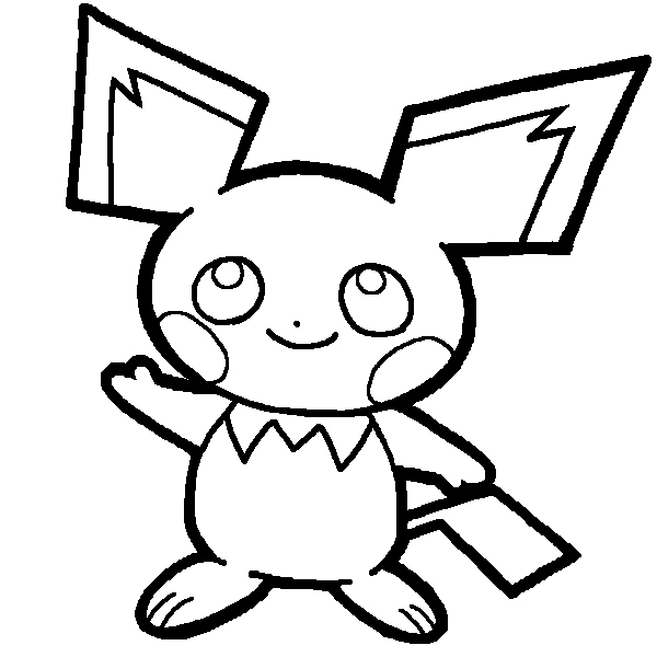 Pichu lineart by yumezaka on deviantart for Pichu coloring pages