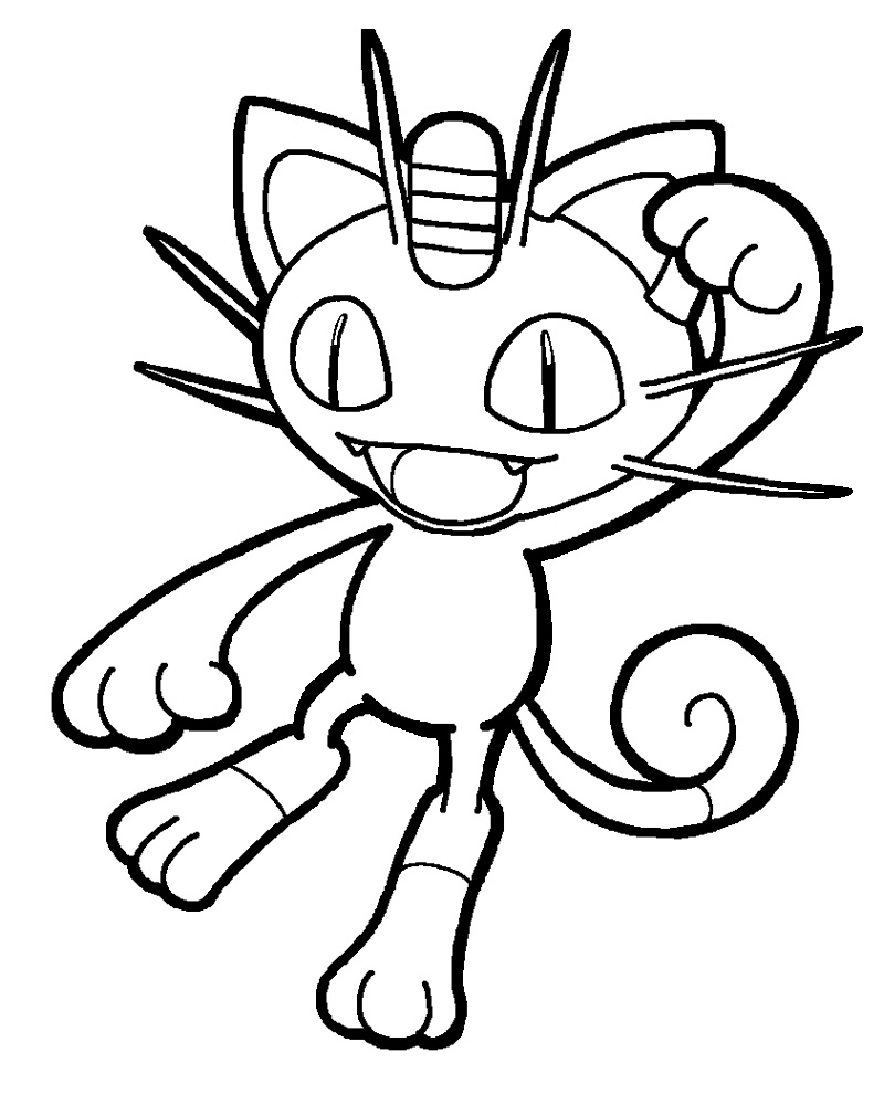 Pokemon Meowth Coloring Pages Images
