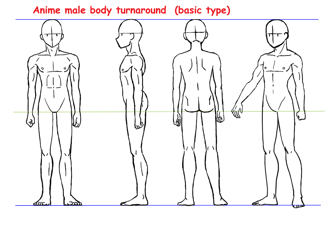 Character Design Outline : Anime male body turnaround by yumezaka on deviantart