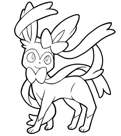 sylveon coloring pages | Coloring Pics Eeveelutions With Sylveon Coloring Pages