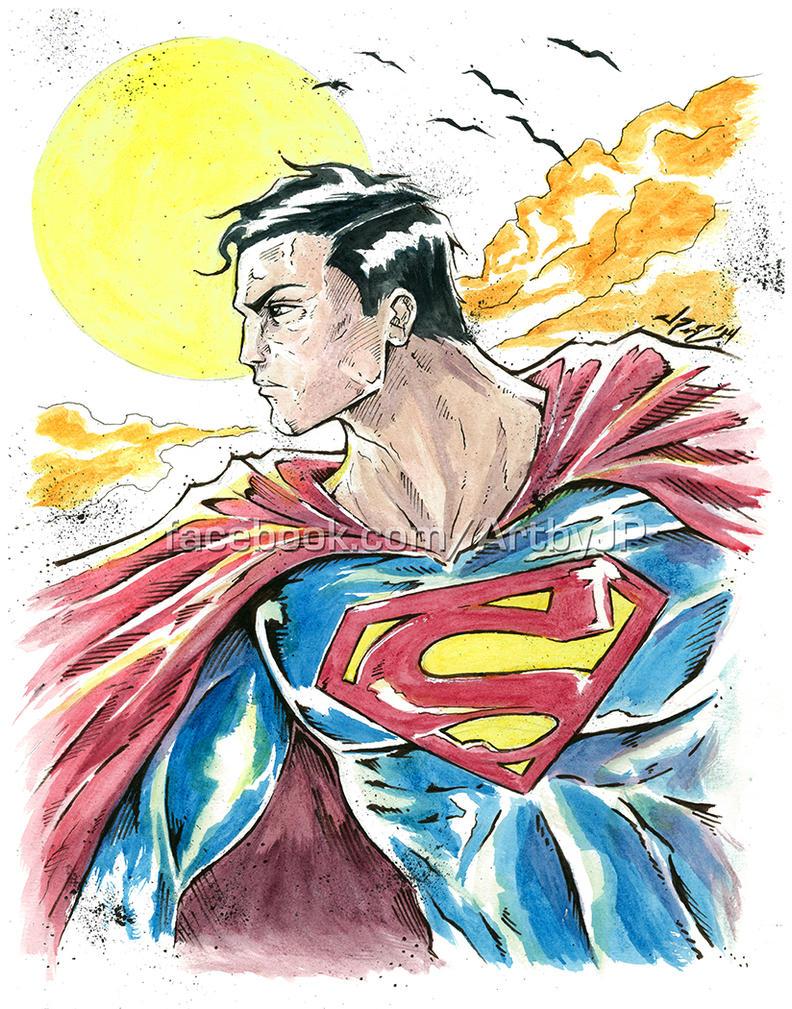 Superman - watercolor set by jpzilla