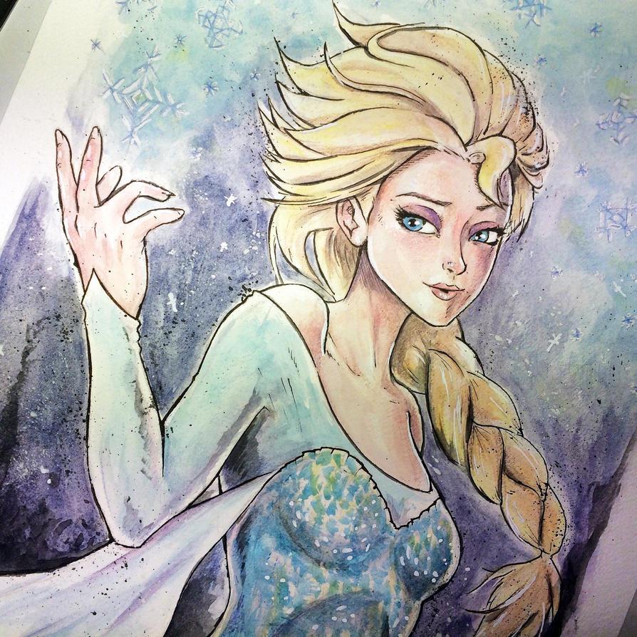 Frozen - Elsa - Watercolor by jpzilla