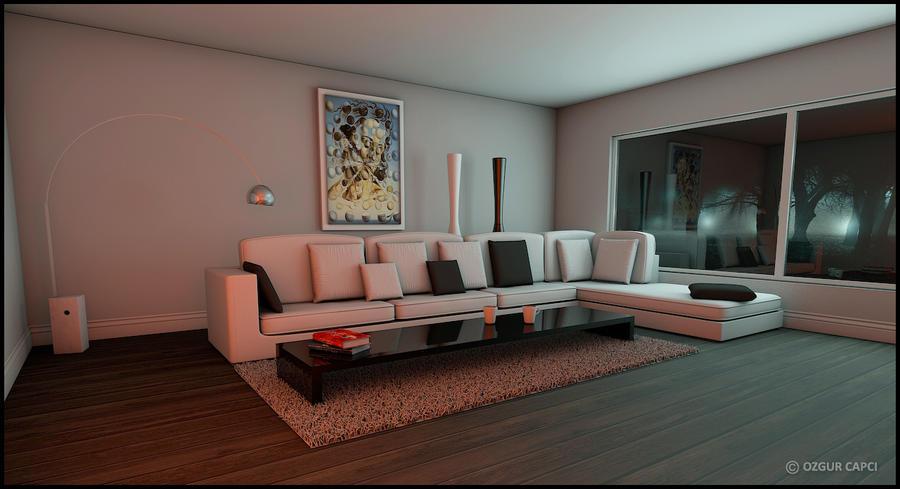 cinema 4d interior by chucksc on deviantart. Black Bedroom Furniture Sets. Home Design Ideas