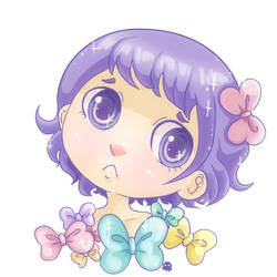 Mauve and ribbons portrait by Soan-c