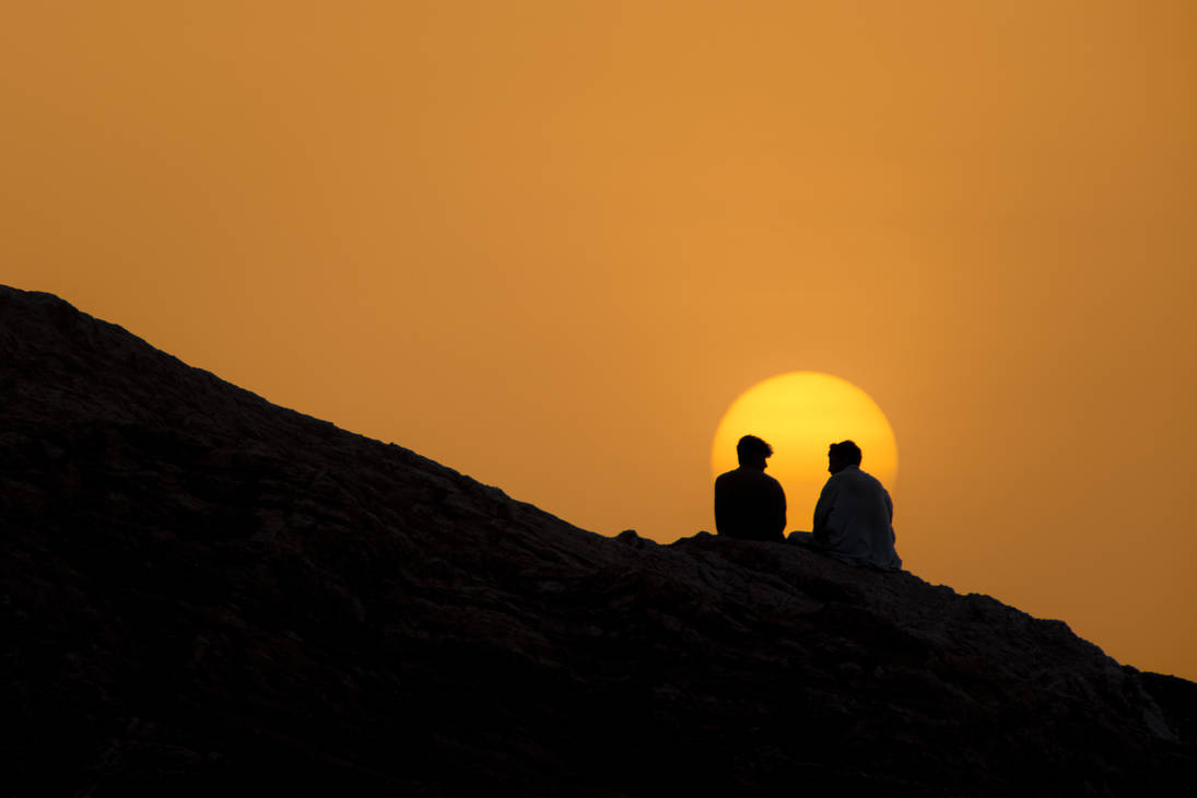 Friends-Sunset-and the edge of mountain by ZaGHaMi