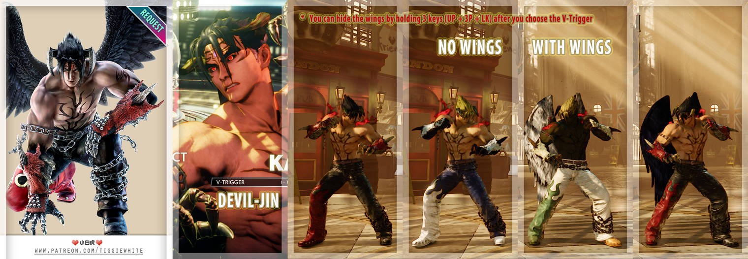 SFV REQ MOD] Evil Ryu Kage as Devil Jin by TiggieWhite on