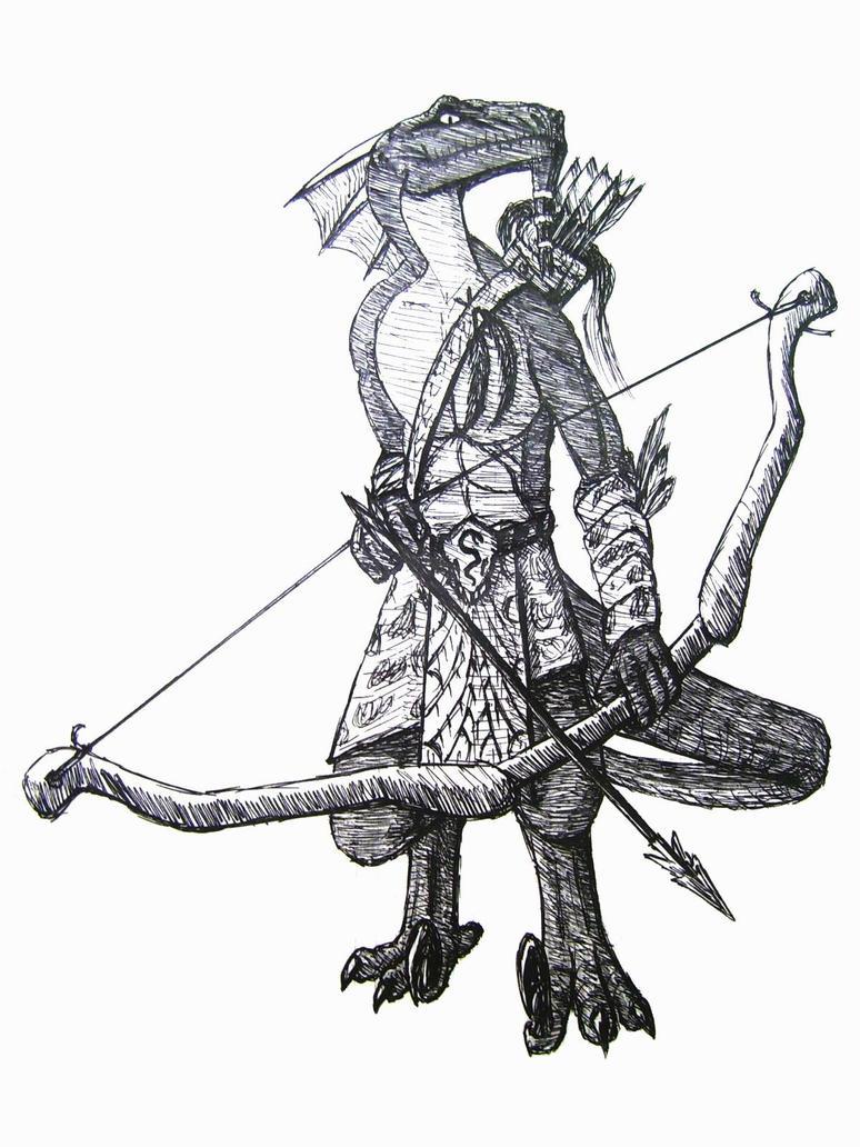 The Reptilian Tribes Lizardman_Archer_by_Walsidar