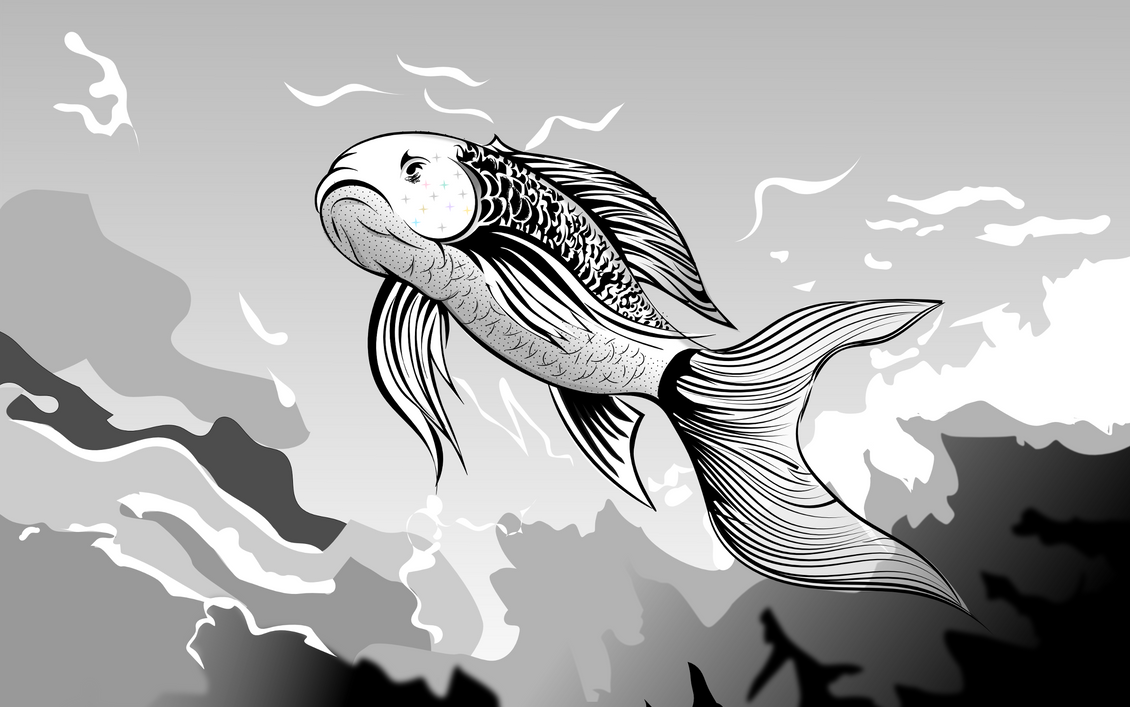 Black and White - Fish And Water by Golden-Ribbon