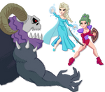 Terra and Elsa Fighting a Monster by MountainSmithy