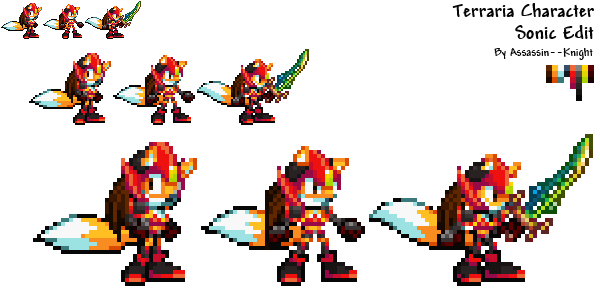 Terraria Character Sonic Edit Sprites By Assassin Knight On