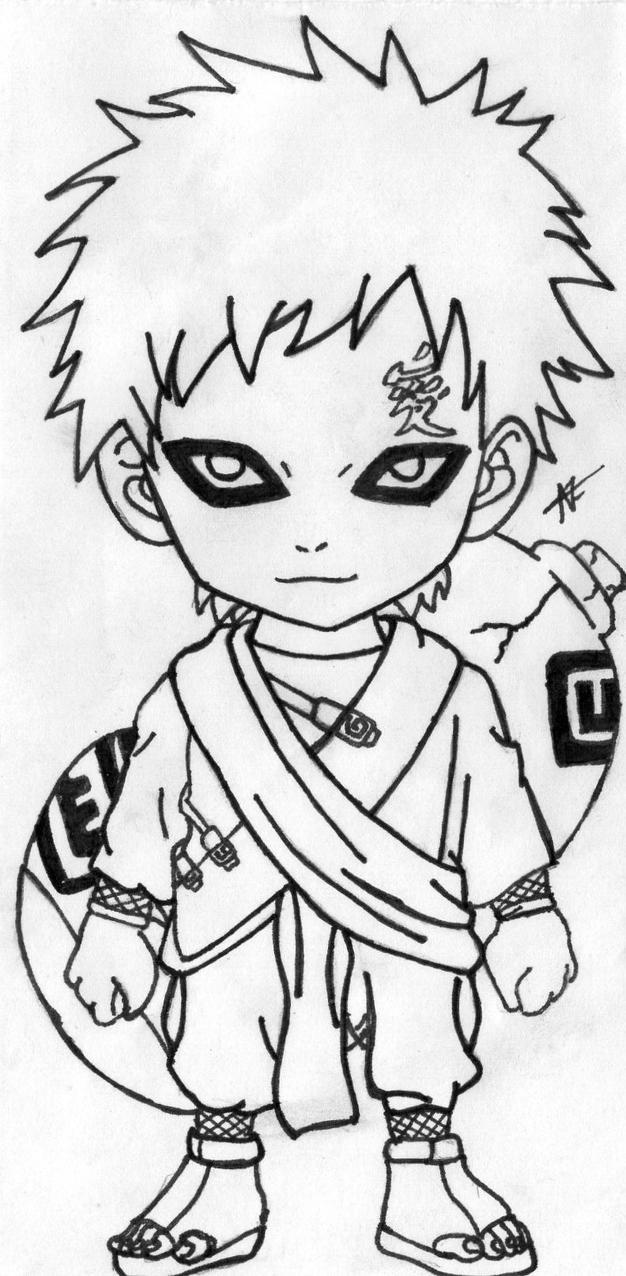 Gaara Chibi lineart by thesexychurro on DeviantArt Gaara And Naruto Chibi