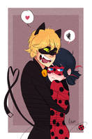 Chat Noir + Ladybug by Uxia15
