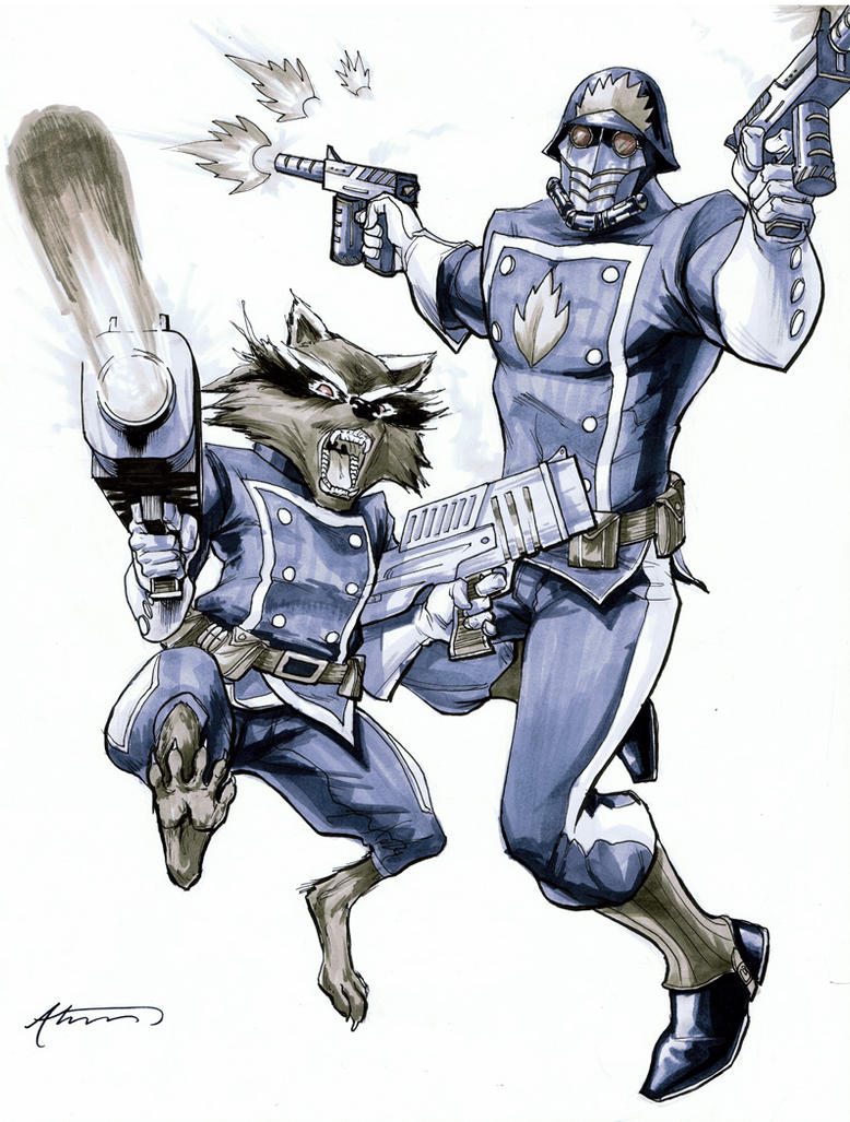 Star Lord And Rocket Raccoon By Timothygreenii On Deviantart: StarLord And Rocket Raccoon By BrianAtkins On DeviantArt