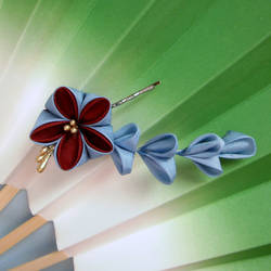Red and blue ume kanzashi pin by elblack