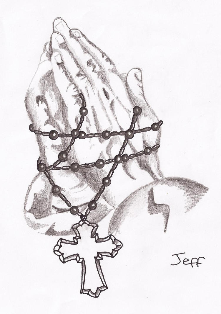 Praying Hands With Rosary Drawing Praying Hands And Rosary Beads