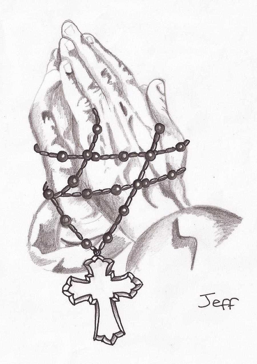 praying hands and rosary beads by amylou31 - Jesus Praying Hands Coloring Page