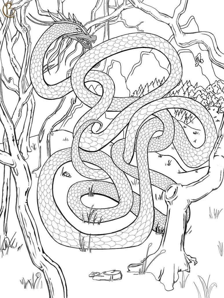 Dragon Coloring Page by TwinBeastC