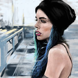 female face study - cartoonish/realistic style