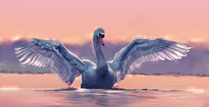 swan - digital painting