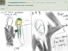 Ask CreepyPasta Answer 29 for CreepypastaAnimeLove by SomeRandomDudeGirl