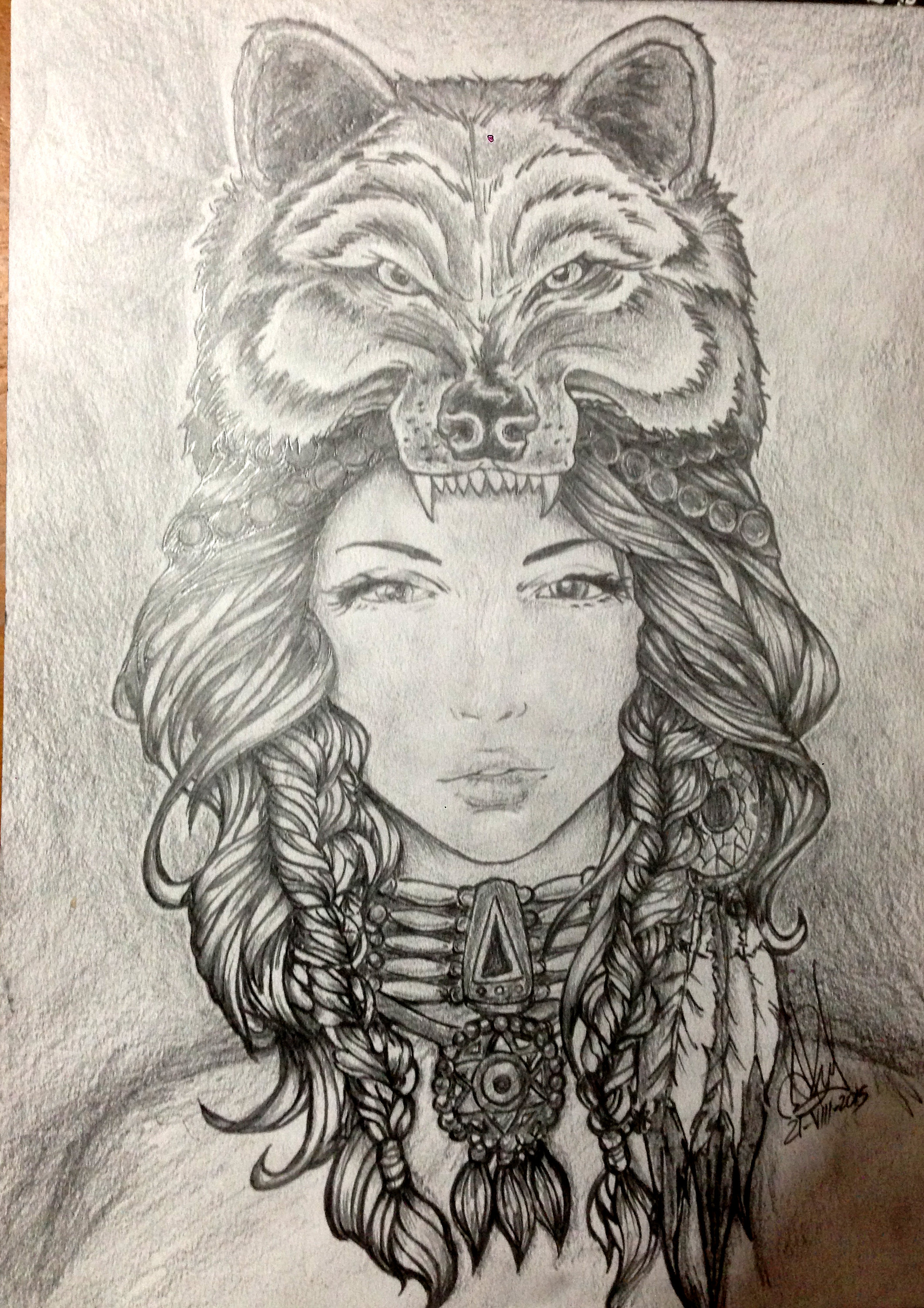 Traditional native american woman pencil drawing by ...