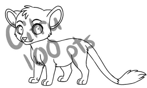 chibi feline line art by CitruAdopts