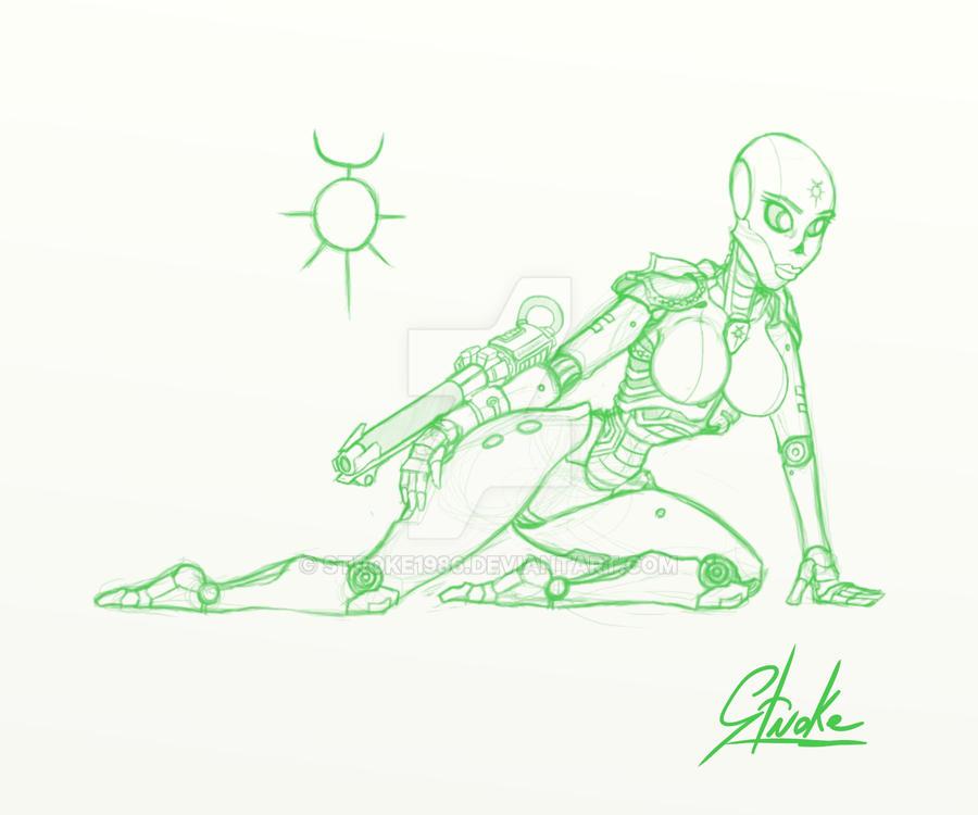 Necron Lady Sketch by Stroke1986