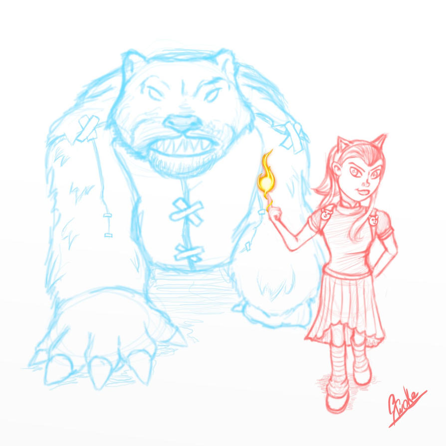 Annie And Tibbers Sketch by Stroke1986