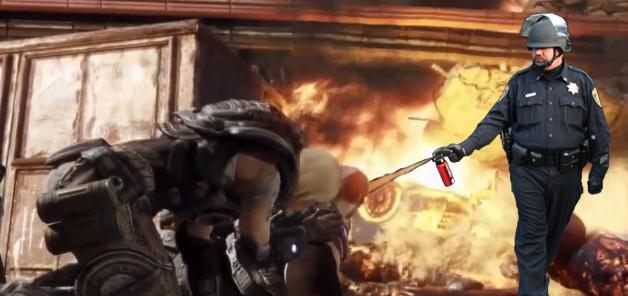Gears of War: Pepper Spray Cop by craigums