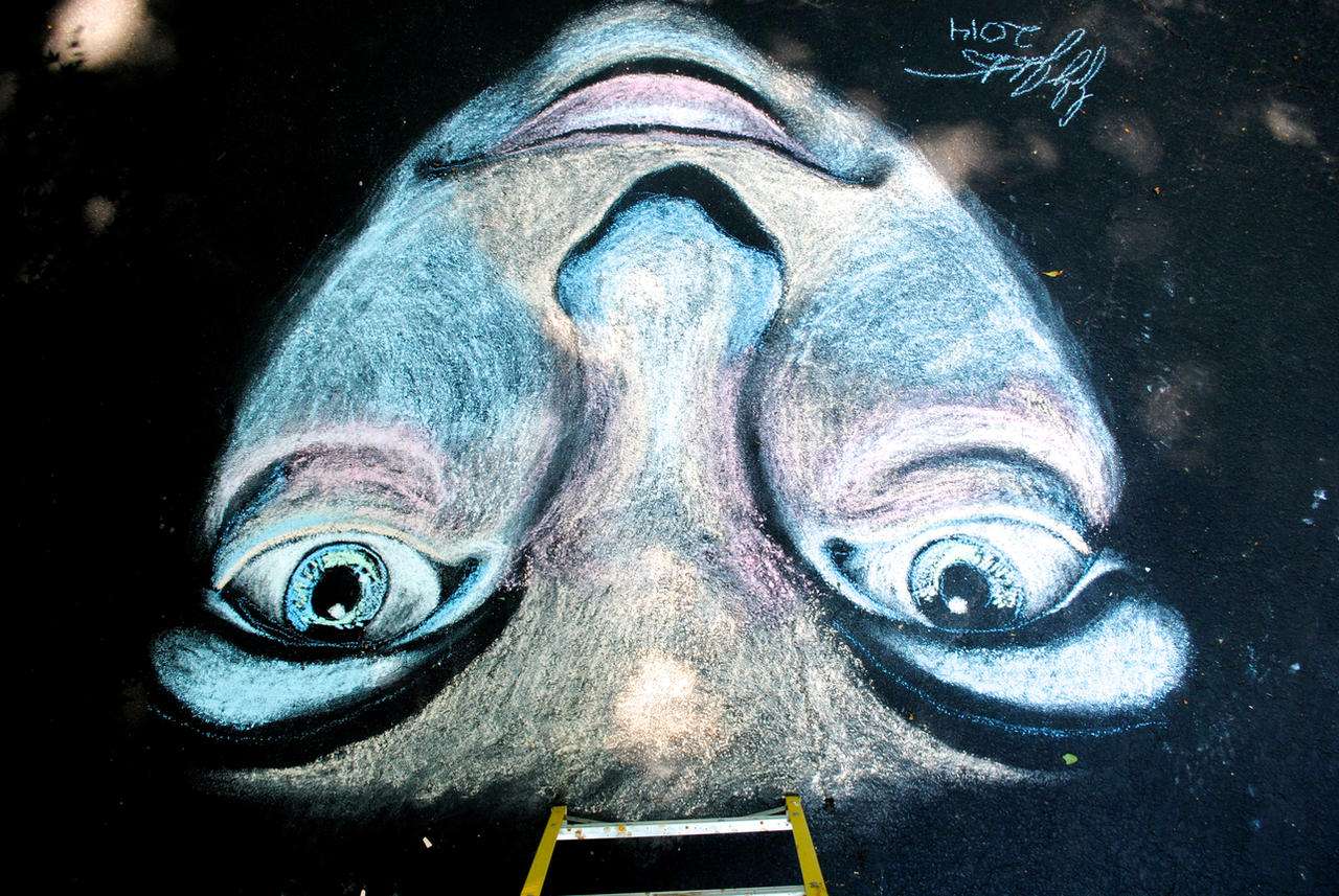 Chalk Art--Stare by SageFillyLuna