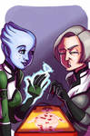 Liara and Dr Chakwas Play Board Games