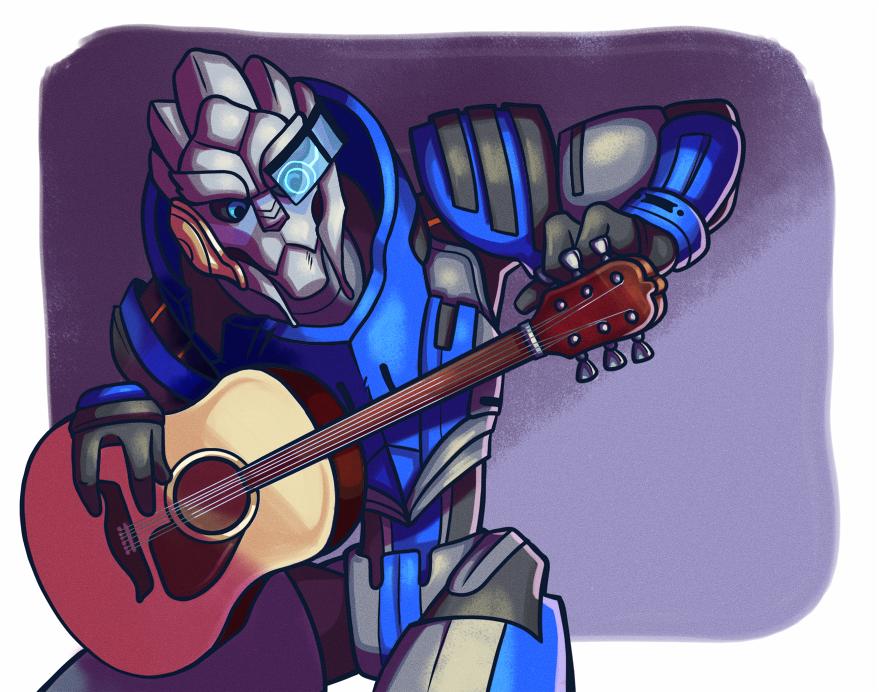 Garrus Plays Guitar by leeny-pie