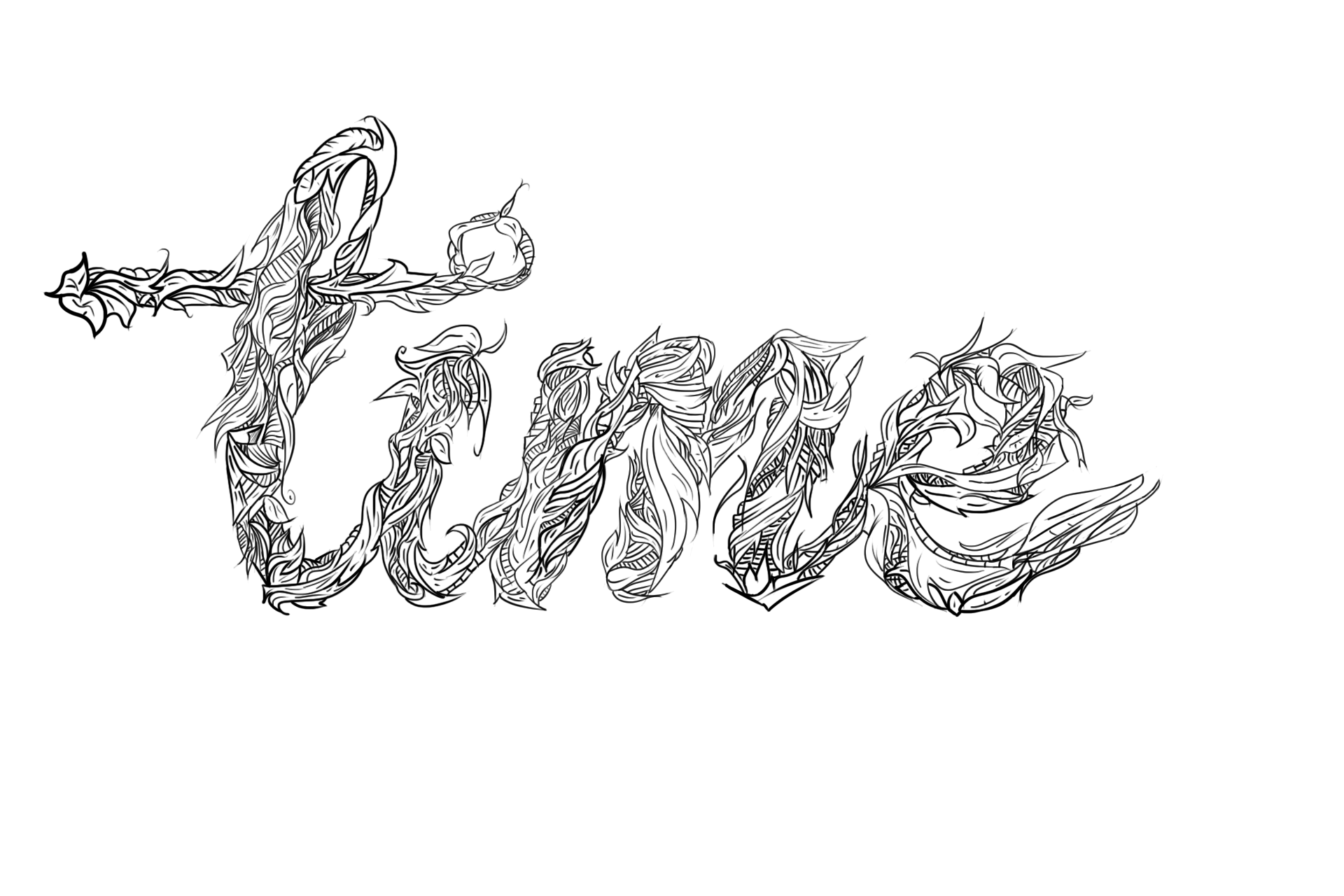 Line Art Typography : Time typography black and white line art by trbowl on
