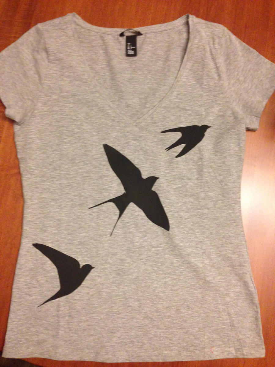 Swallow Silhouette Silk Screen T Shirt By Sarahcaj On