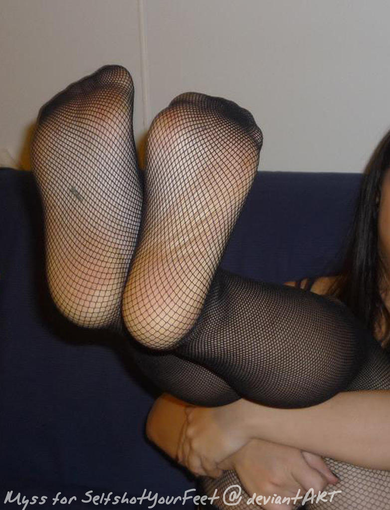 Soles Up in Fishnet Stockings by SelfshotYourFeet