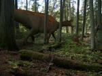 Lambeosaur in the woods
